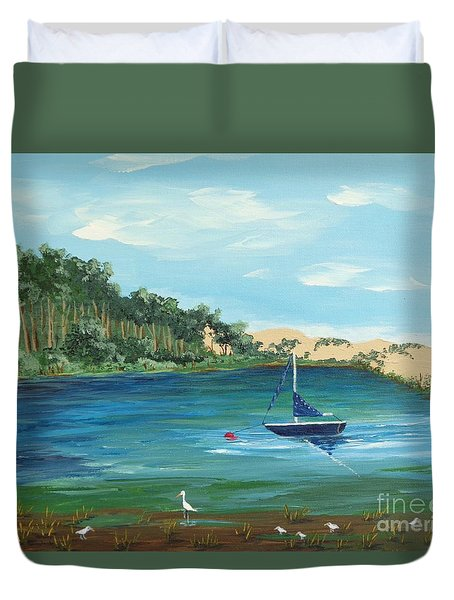 Duvet Cover featuring the painting Back Bay From Back Bay Inn Los Osos Ca by Katherine Young-Beck