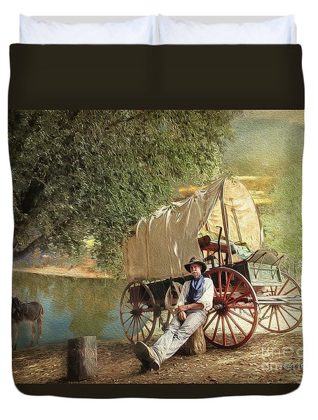 Back Country Camp Out Duvet Cover