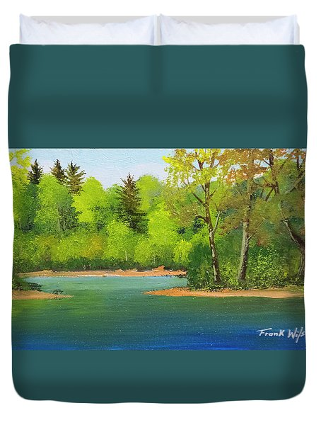 Duvet Cover featuring the painting Back Country Pond by Frank Wilson