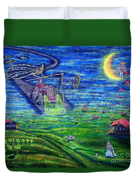 Duvet Cover featuring the painting Back Home by Viktor Lazarev