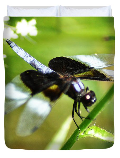 Back In Black - Black Dragonfly Duvet Cover by Bill Cannon