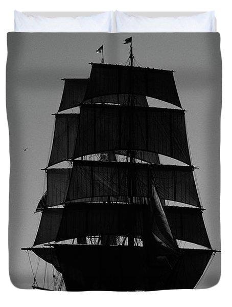 Back Lit Tall Ship Duvet Cover