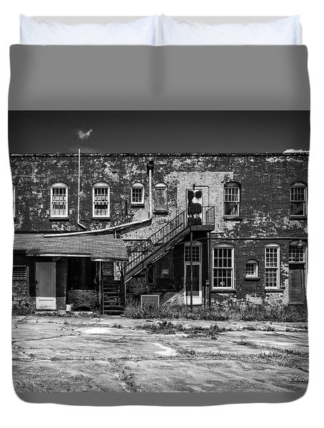 Duvet Cover featuring the photograph Back Lot - Bw by Christopher Holmes