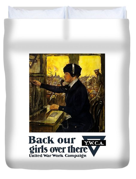 Duvet Cover featuring the painting Back Our Girls Over There by War Is Hell Store