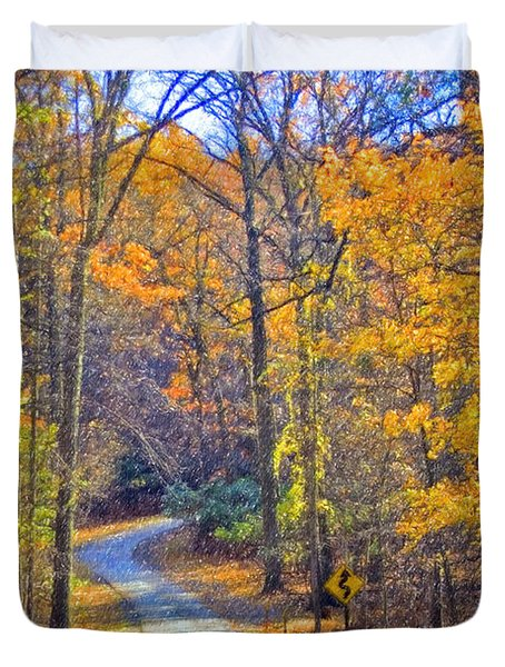 Duvet Cover featuring the photograph Back Road Fall Foliage by David Zanzinger