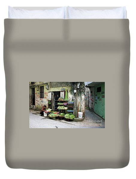 Back Street Veggies Store I Duvet Cover