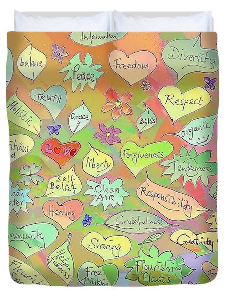 Back To The Garden Leaves, Hearts, Flowers, With Words Duvet Cover