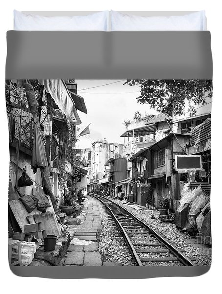 Back Tracks Hanoi Bw Duvet Cover