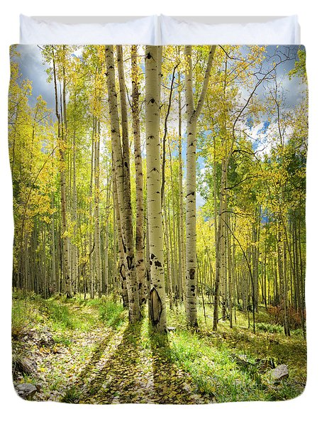 Backlit Aspen Trail Duvet Cover