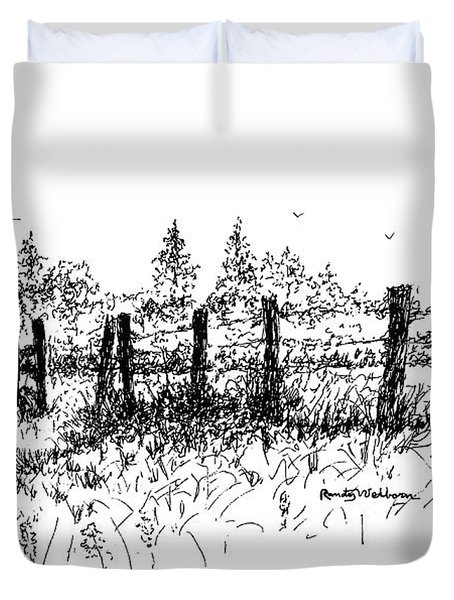 Backlit Fence Duvet Cover