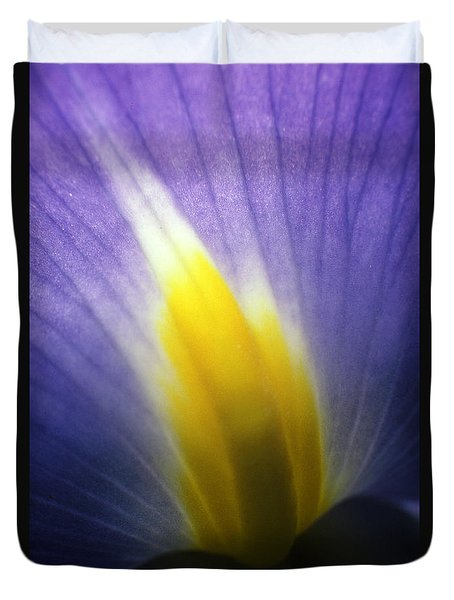 Backlit Iris Flower Petal Close Up Purple And Yellow Duvet Cover