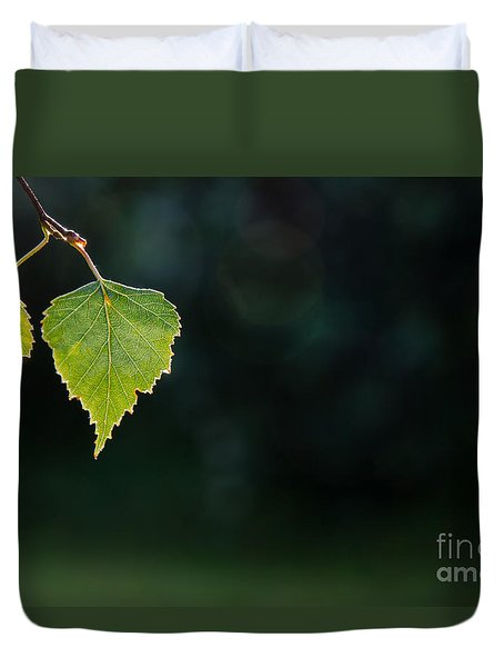 Backlit Shiny Leaf Duvet Cover