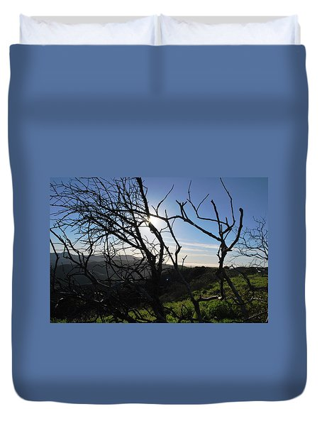 Duvet Cover featuring the photograph Backlit Trees Overlooking Hillside by Matt Harang