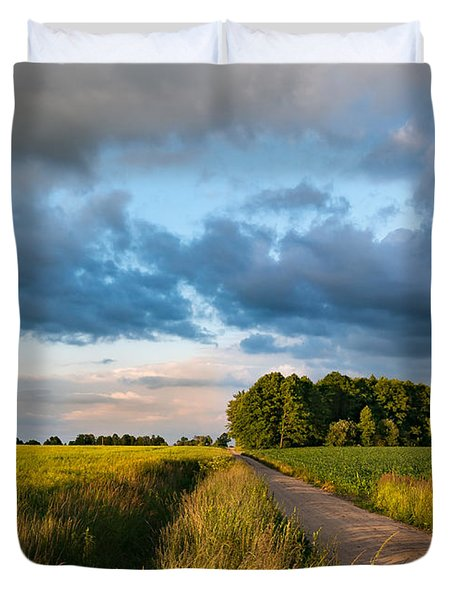 Duvet Cover featuring the photograph Backroad Between The Fields by Dmytro Korol