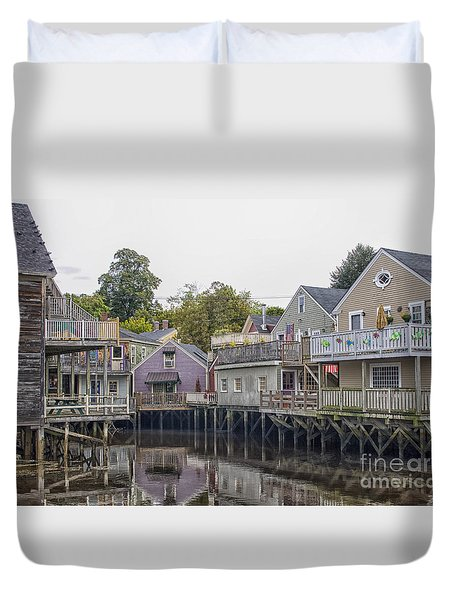 Backside Of Wooden Houses Over Water Duvet Cover by Patricia Hofmeester