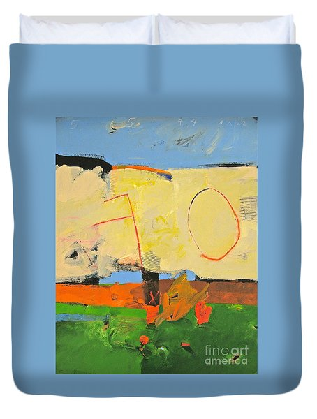 Duvet Cover featuring the painting Backyard-4-garden-m- by Cliff Spohn