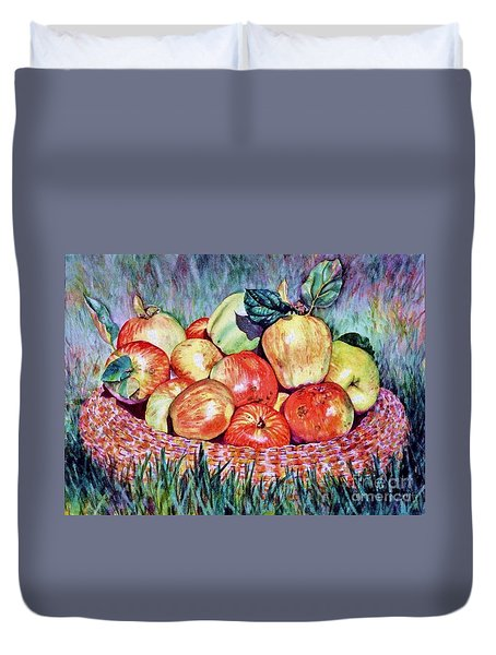 Backyard Apples Duvet Cover