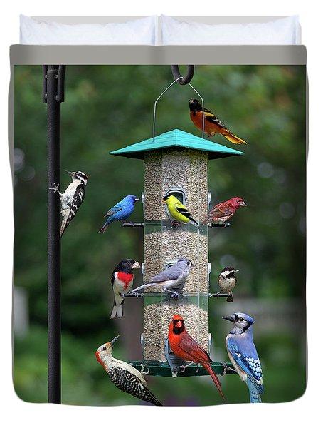 Backyard Bird Feeder Duvet Cover