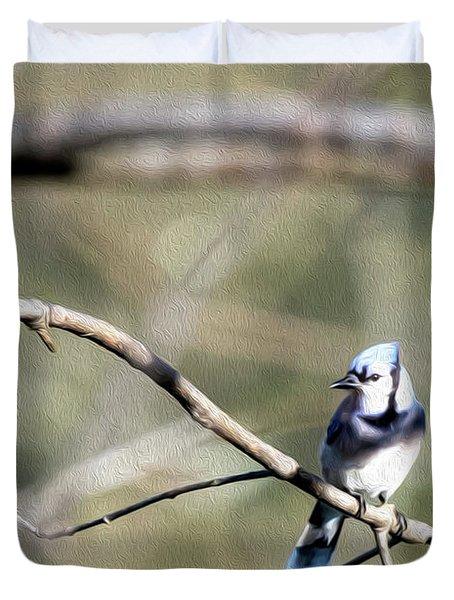 Backyard Blue Jay Oil Duvet Cover