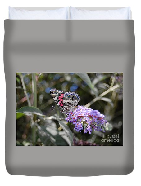 Duvet Cover featuring the photograph Backyard Buckeye Butterfly by Debra Thompson