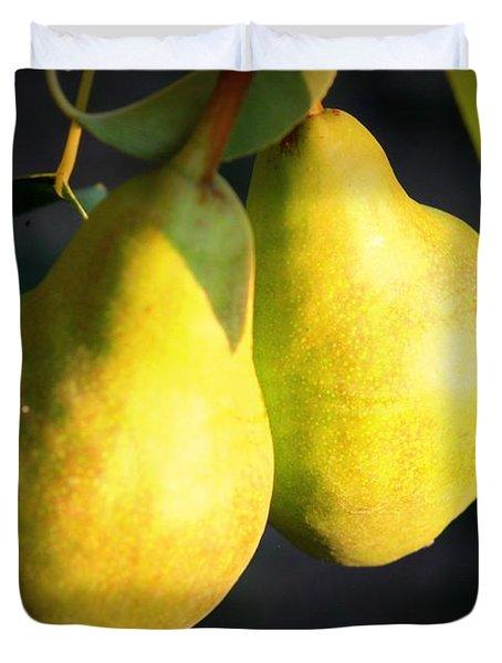 Backyard Garden Series - Two Pears Duvet Cover by Carol Groenen