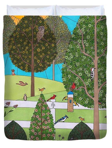 Backyard Gathering Duvet Cover