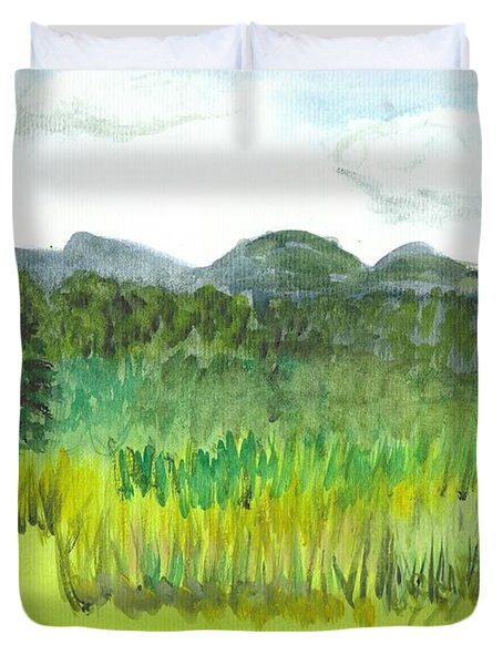 Duvet Cover featuring the painting Backyard In Barton by Donna Walsh