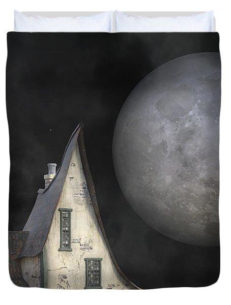 Backyard Moon Super Realistic  Duvet Cover