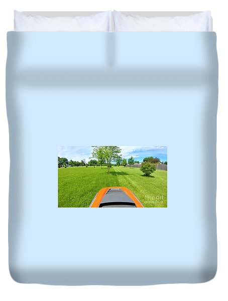 Duvet Cover featuring the photograph Backyard Mowing by Ricky L Jones