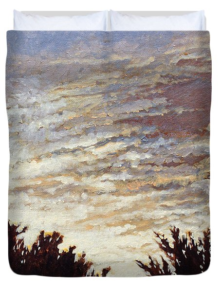 Duvet Cover featuring the painting Backyard Sunset by Todd Blanchard