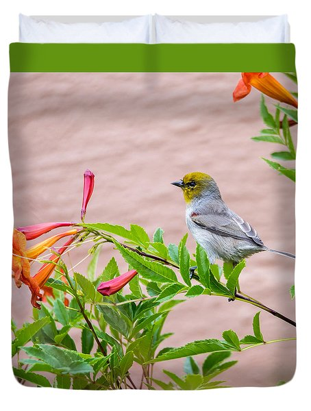 Backyard Verdin Duvet Cover