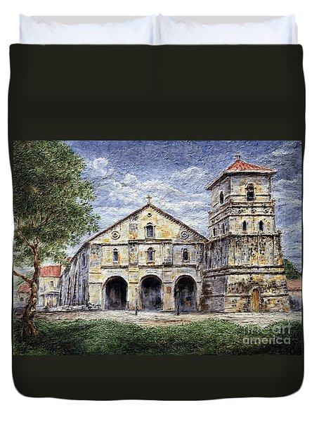 Duvet Cover featuring the painting Baclayon Church by Joey Agbayani