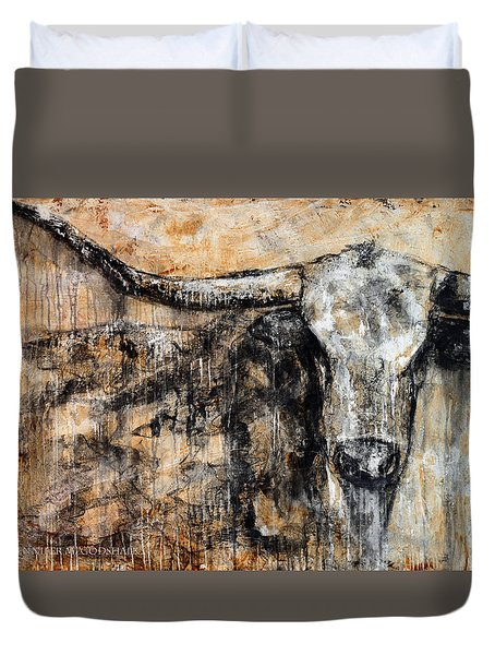 Bad Attitude Texas Longhorn Contemporary Painting Duvet Cover