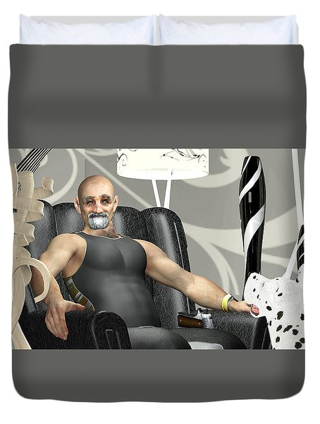 Duvet Cover featuring the digital art Bad Dog by Peter J Sucy