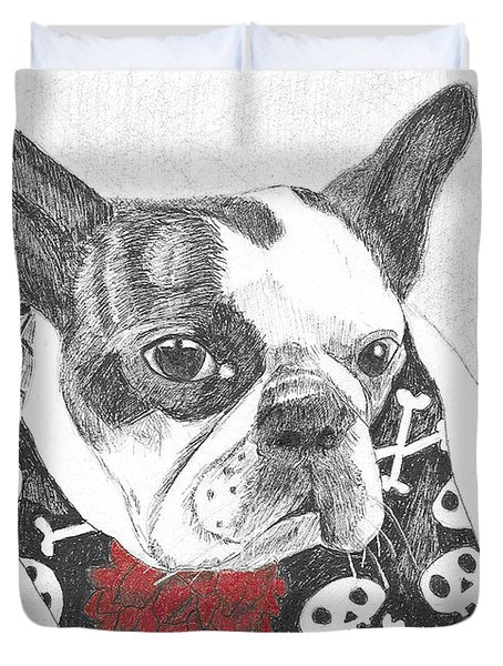 Duvet Cover featuring the drawing Bad To The Bone by Arlene Crafton