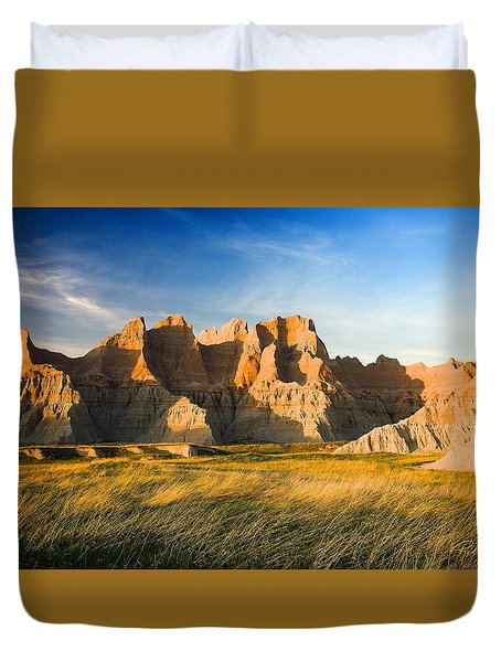 Duvet Cover featuring the photograph Badlands In Late Afternoon by Rikk Flohr