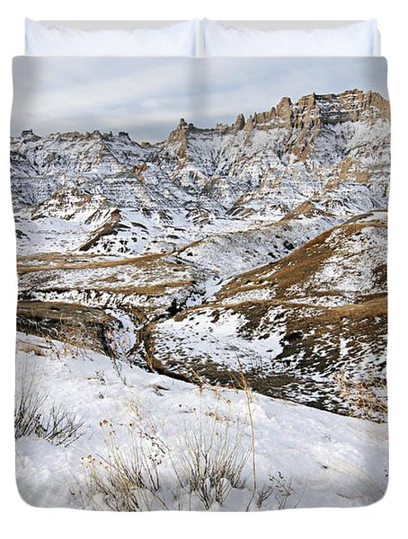 Badlands In Snow Duvet Cover