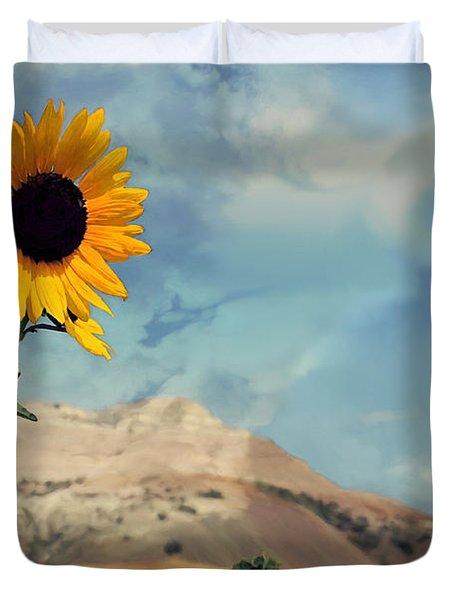 Badlands Of South Dakota Yellow Flower Duvet Cover