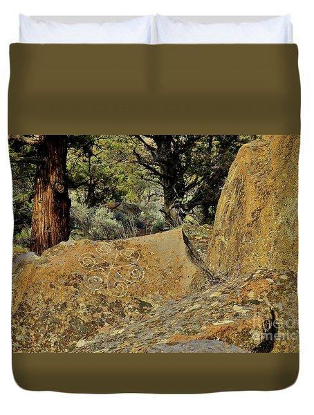 Badlands Wilderness Rock Carving Duvet Cover by Michele Penner