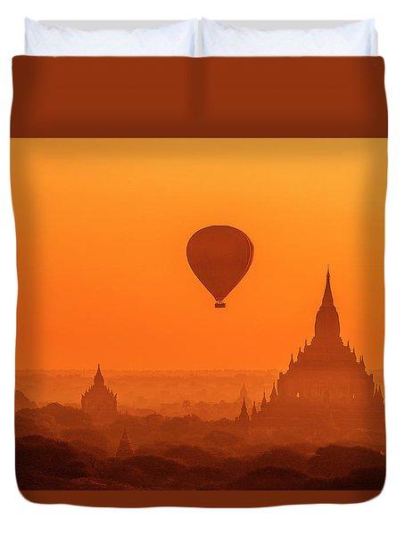 Duvet Cover featuring the photograph Bagan Pagodas And Hot Air Balloon by Pradeep Raja Prints
