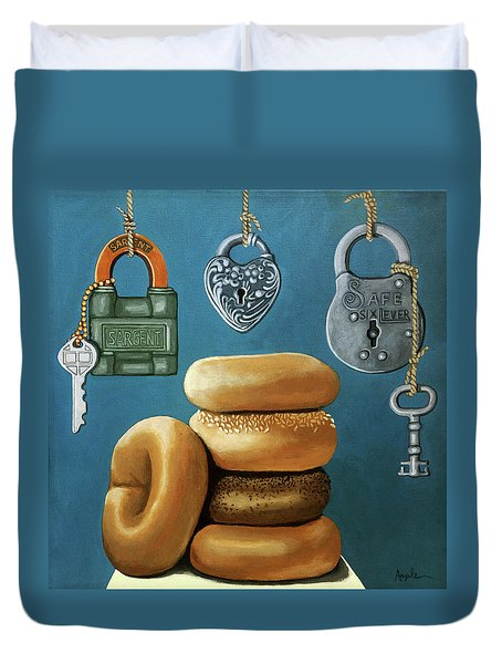 Duvet Cover featuring the painting Bagels And Locks by Linda Apple