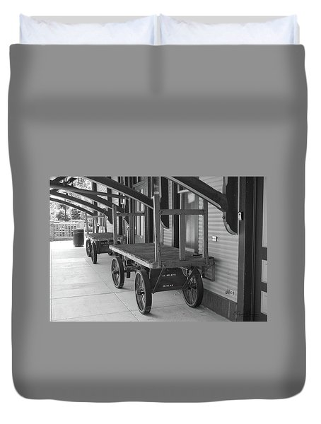 Baggage Carts Bw Duvet Cover