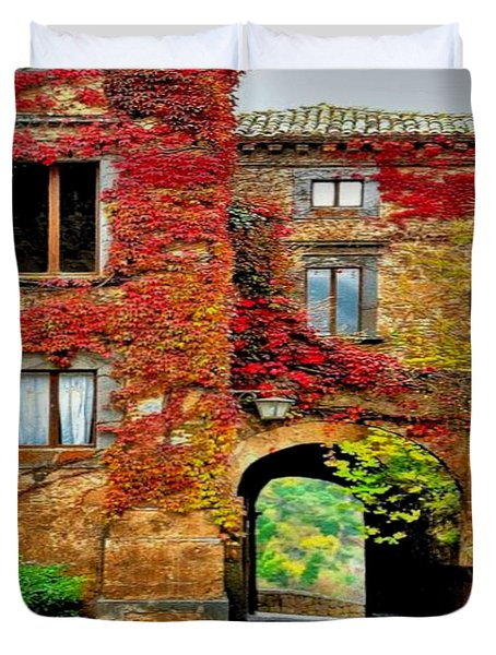 Duvet Cover featuring the photograph Bagnoregio Italy by Digital Art Cafe