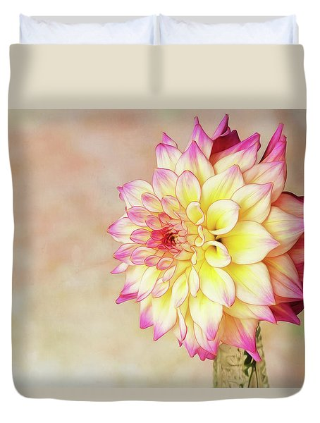 Duvet Cover featuring the photograph Bahama Mama Dahlia by Mary Jo Allen