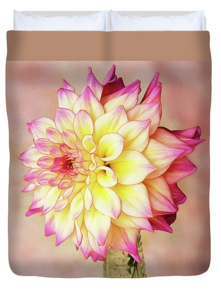 Duvet Cover featuring the photograph Bahama Mama Dahlia Square by Mary Jo Allen