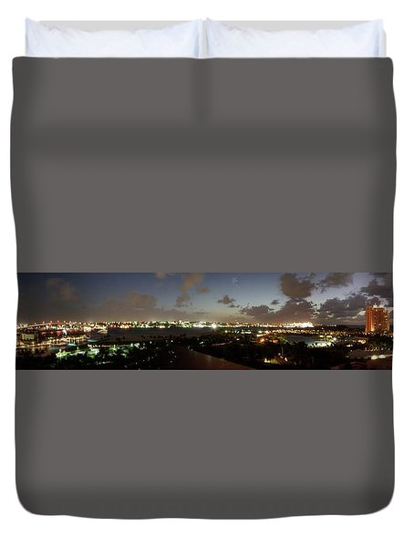 Duvet Cover featuring the photograph Bahama Night by Jerry Battle