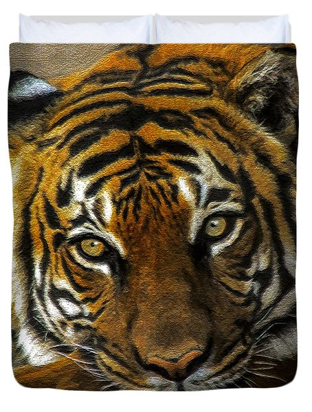 Duvet Cover featuring the mixed media Baheem Bored by Elaine Malott