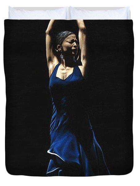 Bailarina A Solas Del Flamenco Duvet Cover by Richard Young