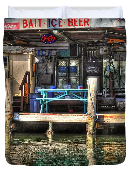 Bait Ice  Beer Shop On Bay Duvet Cover