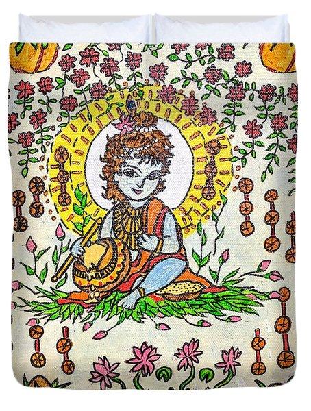 Bala Krishna - Madhubani Duvet Cover